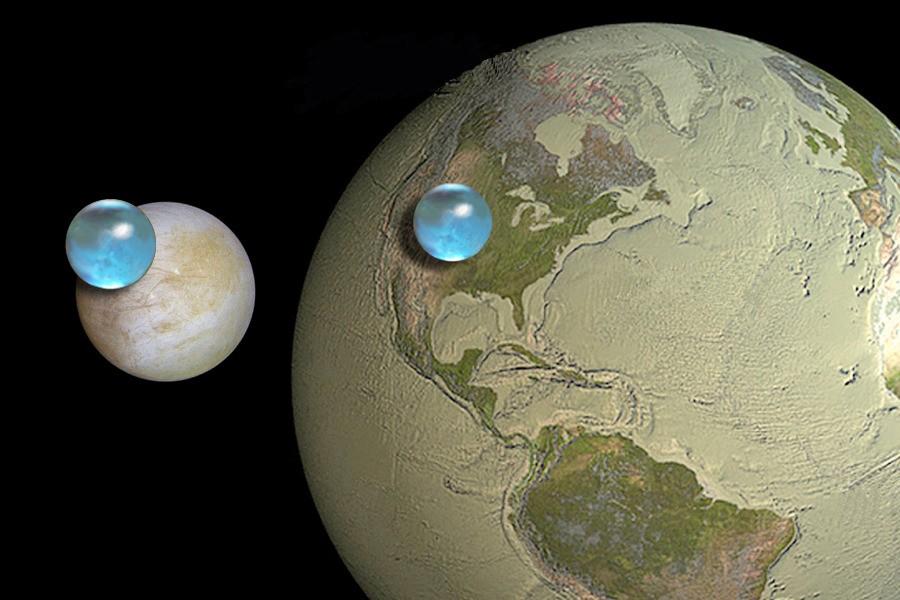 Количество воды на Земле и на Европе