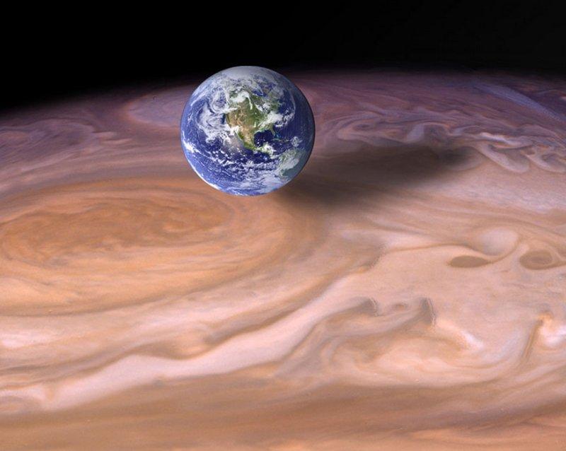 Размеры Большого красного пятна на Юпитере