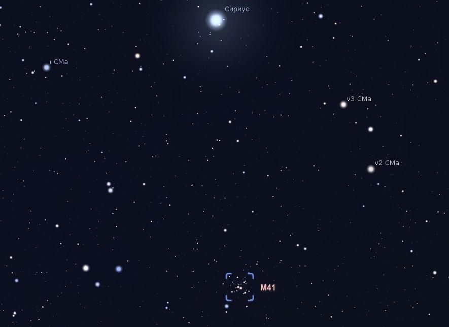 Расположение скопление M41.