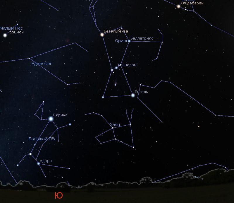 Созвездие Большой Пес на небе.