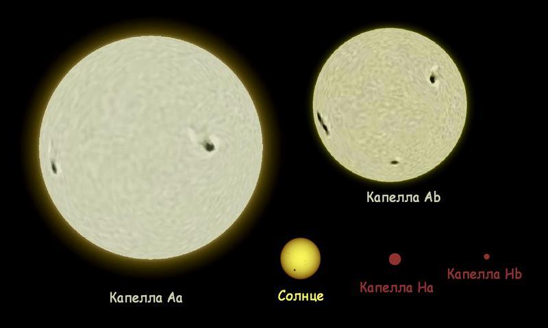 Сравнительные размеры компонентов системы Капеллы и Солнца.