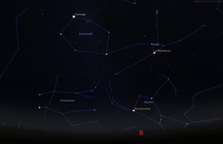 Созвездие Возничий на небе