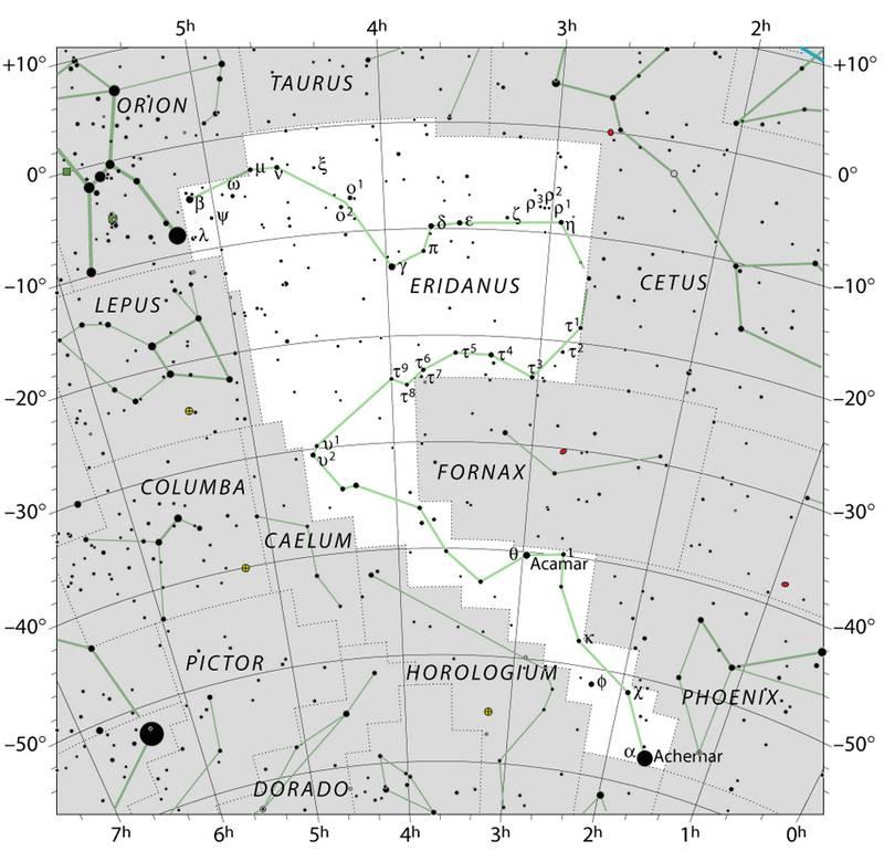 Карта созвездия Эридан