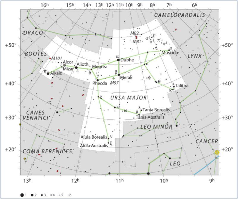 Карта созвездия Большая Медведица.