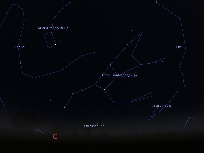 Созвездие Большая Медведица на небе.