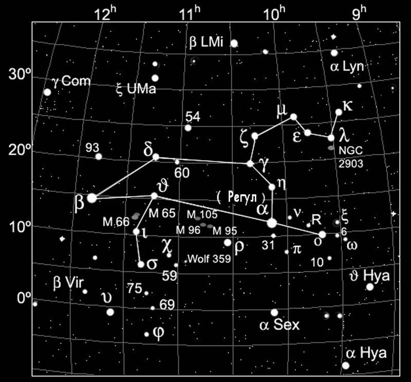 Карта созвездия Льва