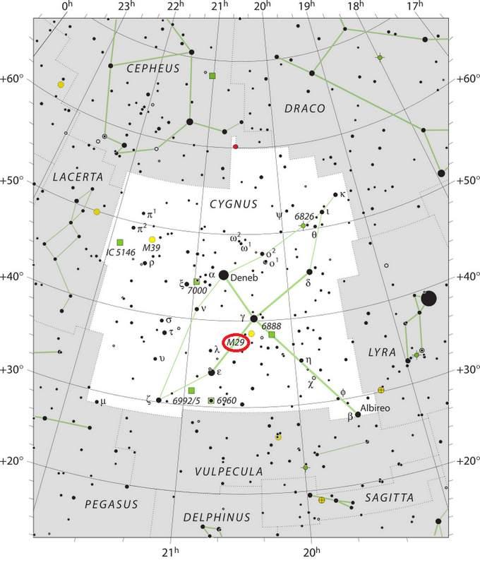 Расположение скопления М 29