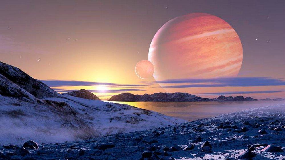 Фантастический вид на каком-нибудь каменистом спутнике Kepler - 1625b.