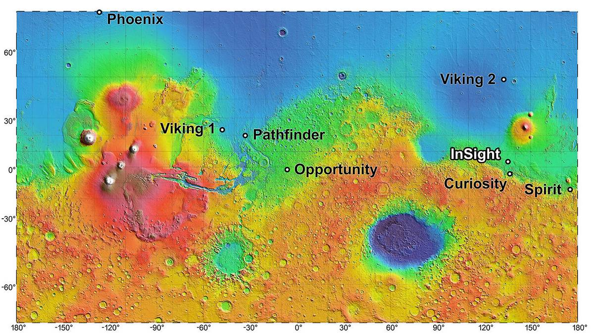 Место посадки модуля InSight на Марсе