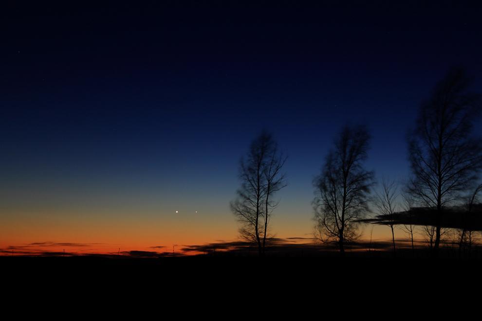 Меркурий и Венера на закате.