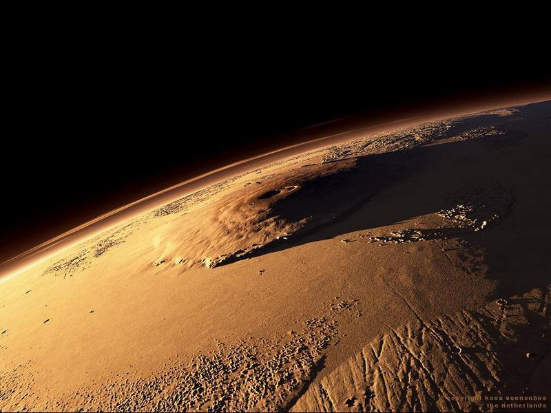Вулкан Олимп, фото из космоса.