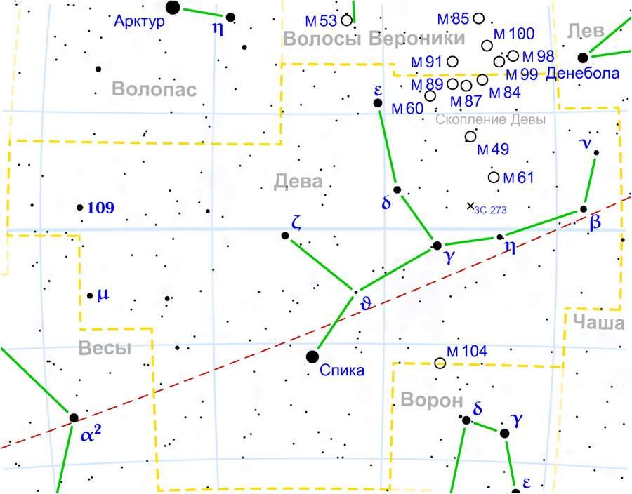 Карта созвездия Дева