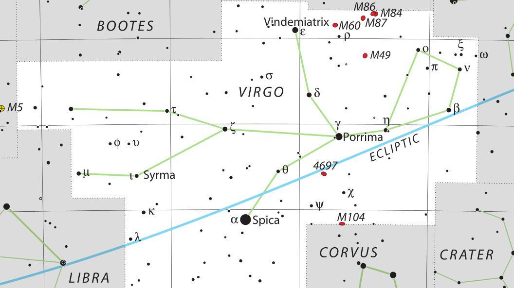Звезда Виндемиатрикс находится в верхней части созвездия Девы.