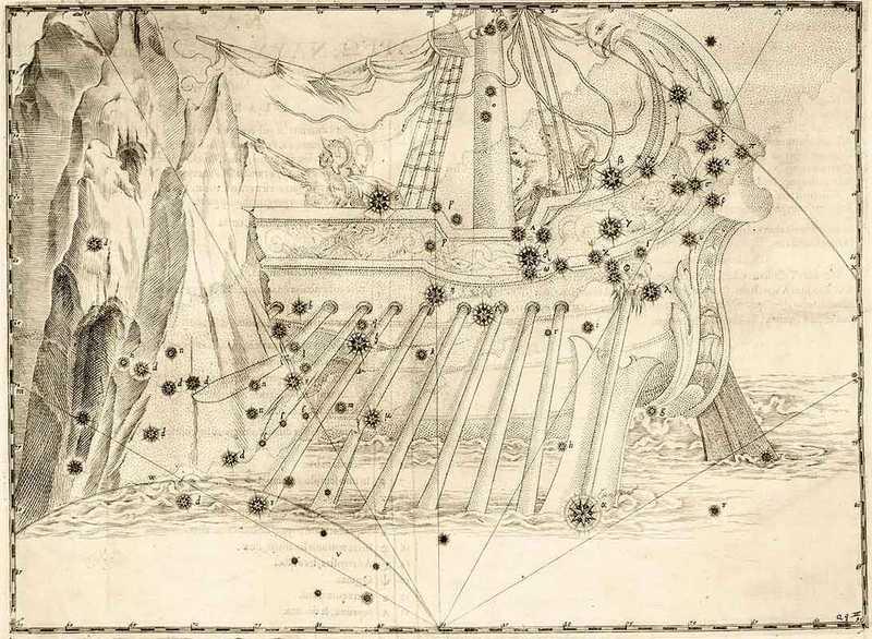 """Созвездие """"Корабль Арго"""" в Уранометрии Байера."""