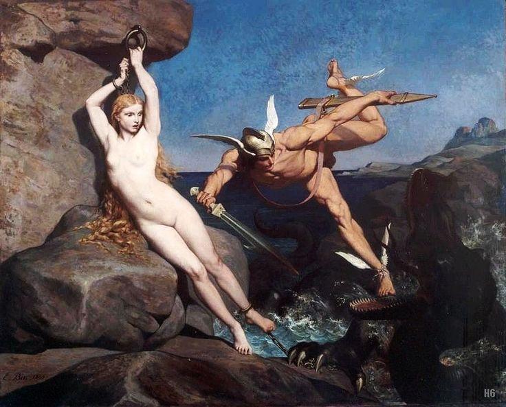 Персей победил морское чудовище и освободил Андромеду.