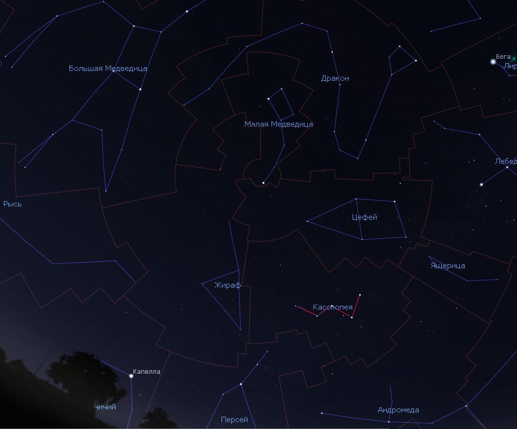 Созвездие Кассиопея на небе.