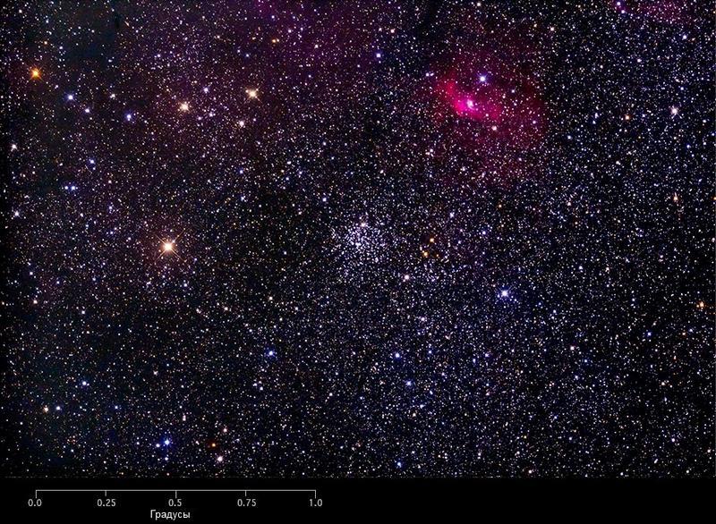 Рассеянное скопление М 52 и туманность Пузырь
