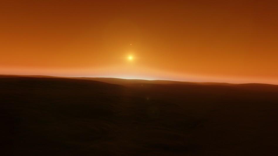 Ближайшая звезда к Земле - Проксима Центавра. Так она могла бы выглядеть на небе одной из своих планет.