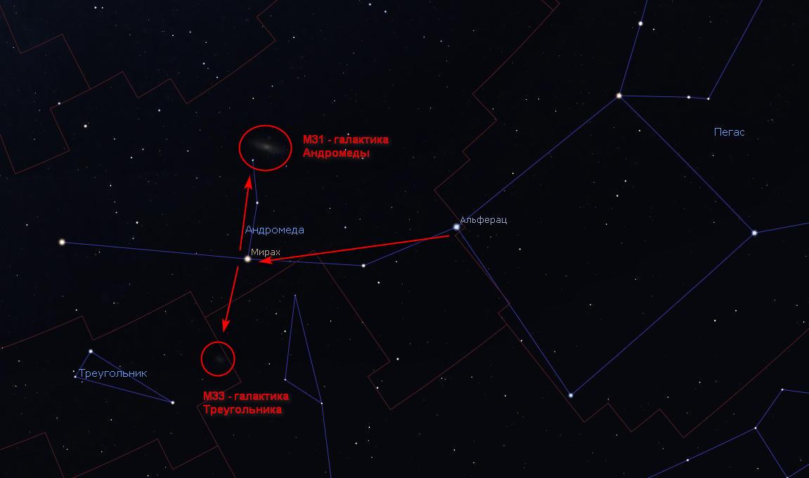 Как найти галактику Андромеды по созвездию Пегаса.