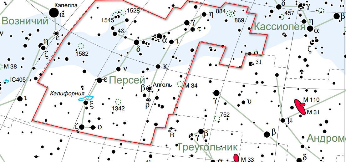 Карта созвездия Персей