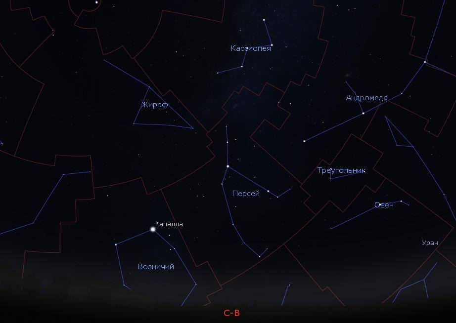 Созвездие Персей на небе