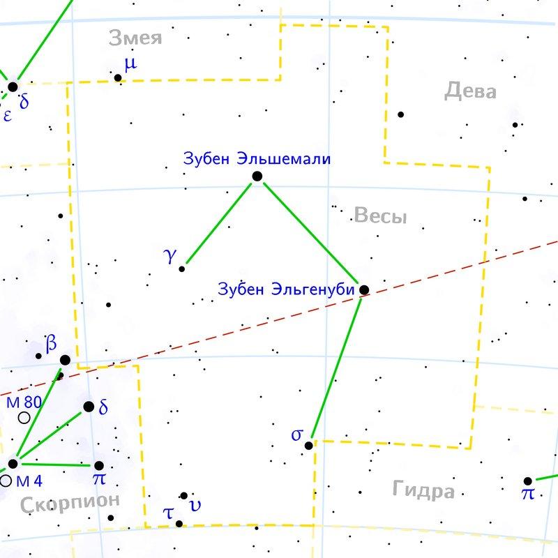 Карта созвездия Весы
