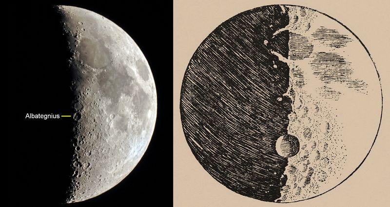 Рисунок лунных кратеров, сделанный Галилео Галилеем.