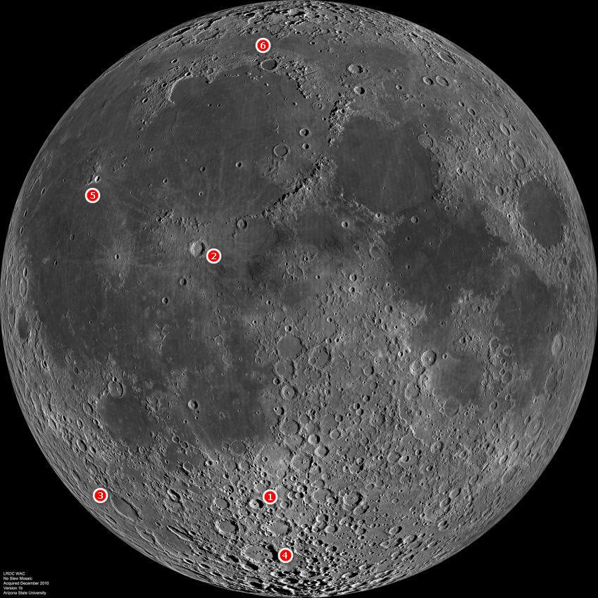 Лунные кратеры, которые рассматриваются далее.