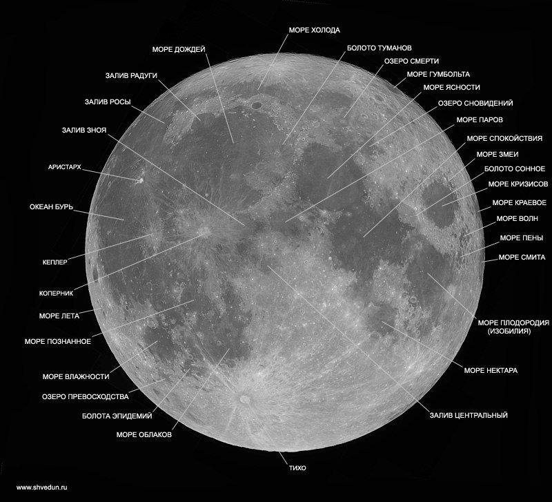 Моря на Луне, расположение.