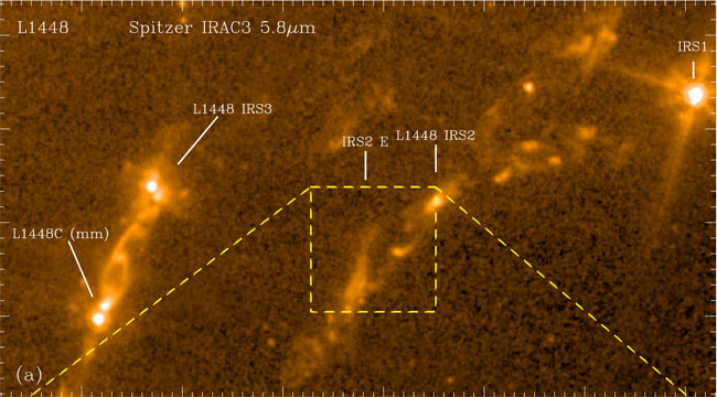 "Самая молодая звезда L1488-IRS2E на снимке телескопа ""Спитцер"""
