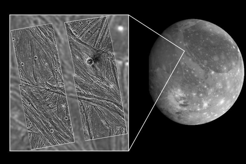 Поверхность Ганимеда, самого большого спутника в Солнечной системе.