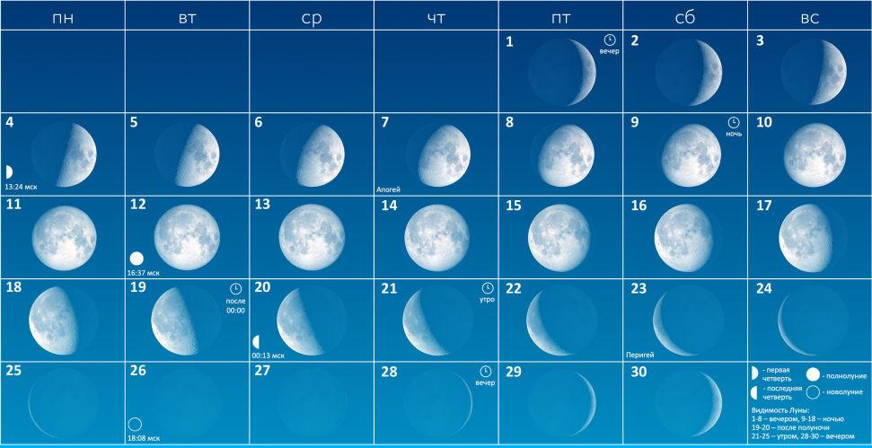Луна в ноябре 2019 года