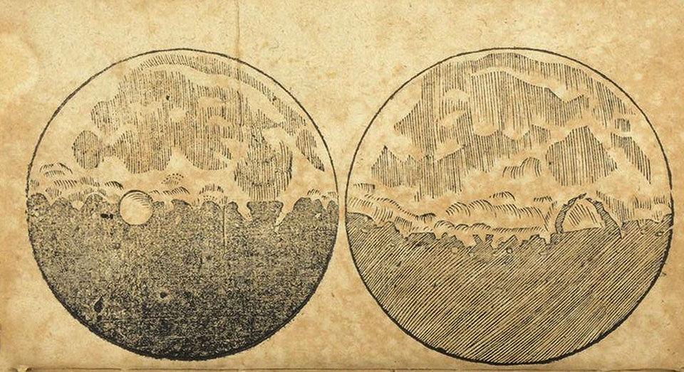 Первая карта Луны, нарисованная Галилео Галилеем