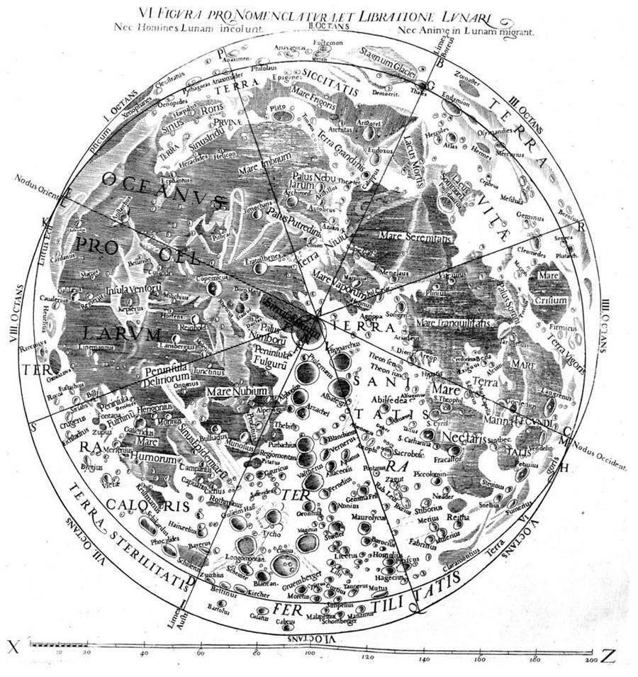 Карта Луны Джованни Риччоли.