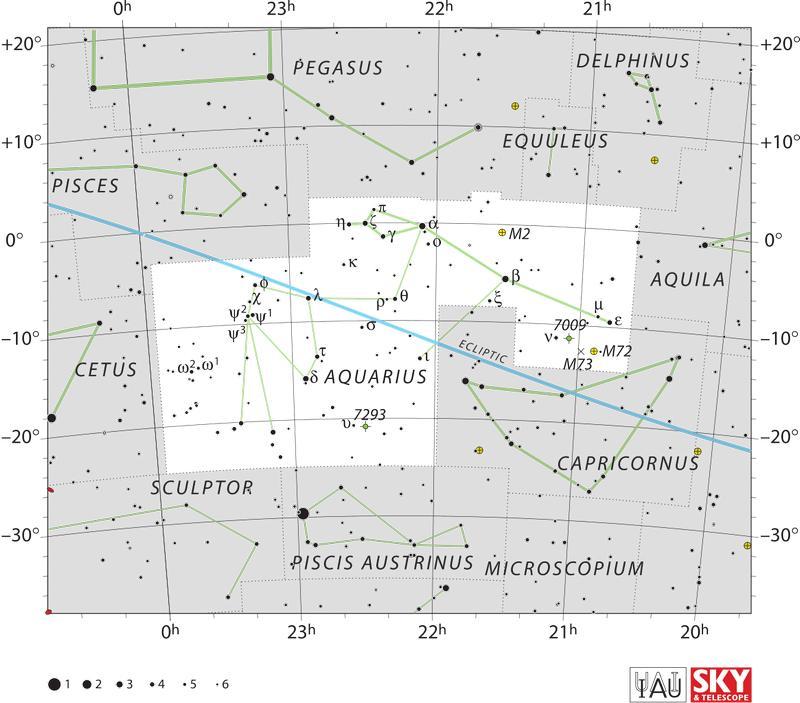 Карта созвездия Водолей