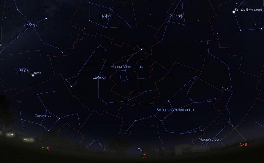 Созвездие Малая Медведица на небе.