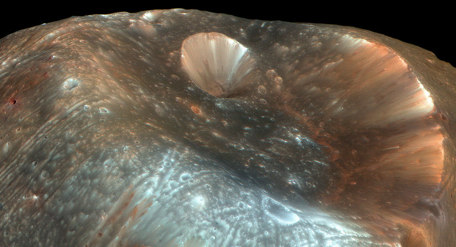 Кратер Стикни на поверхности Фобоса