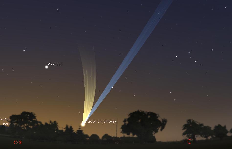 Возможно, так выглядела бы комета C/2019 Y4 (Atlas) на небе в мае.