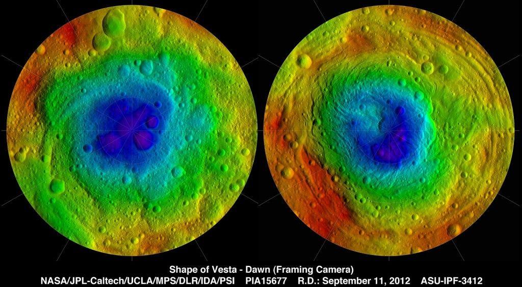 Топографическая карта астероида Веста
