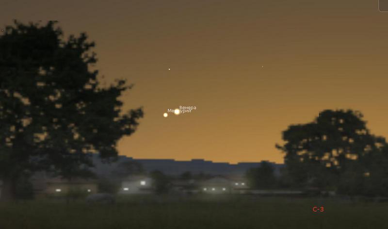 Венера и Меркурий на вечернем небе 22 мая 2020 года.