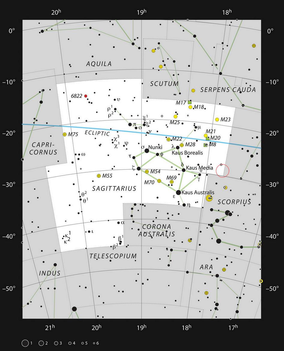 Карта созвездия Стрельца