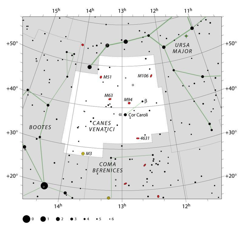 Карта созвездия Гончие Псы