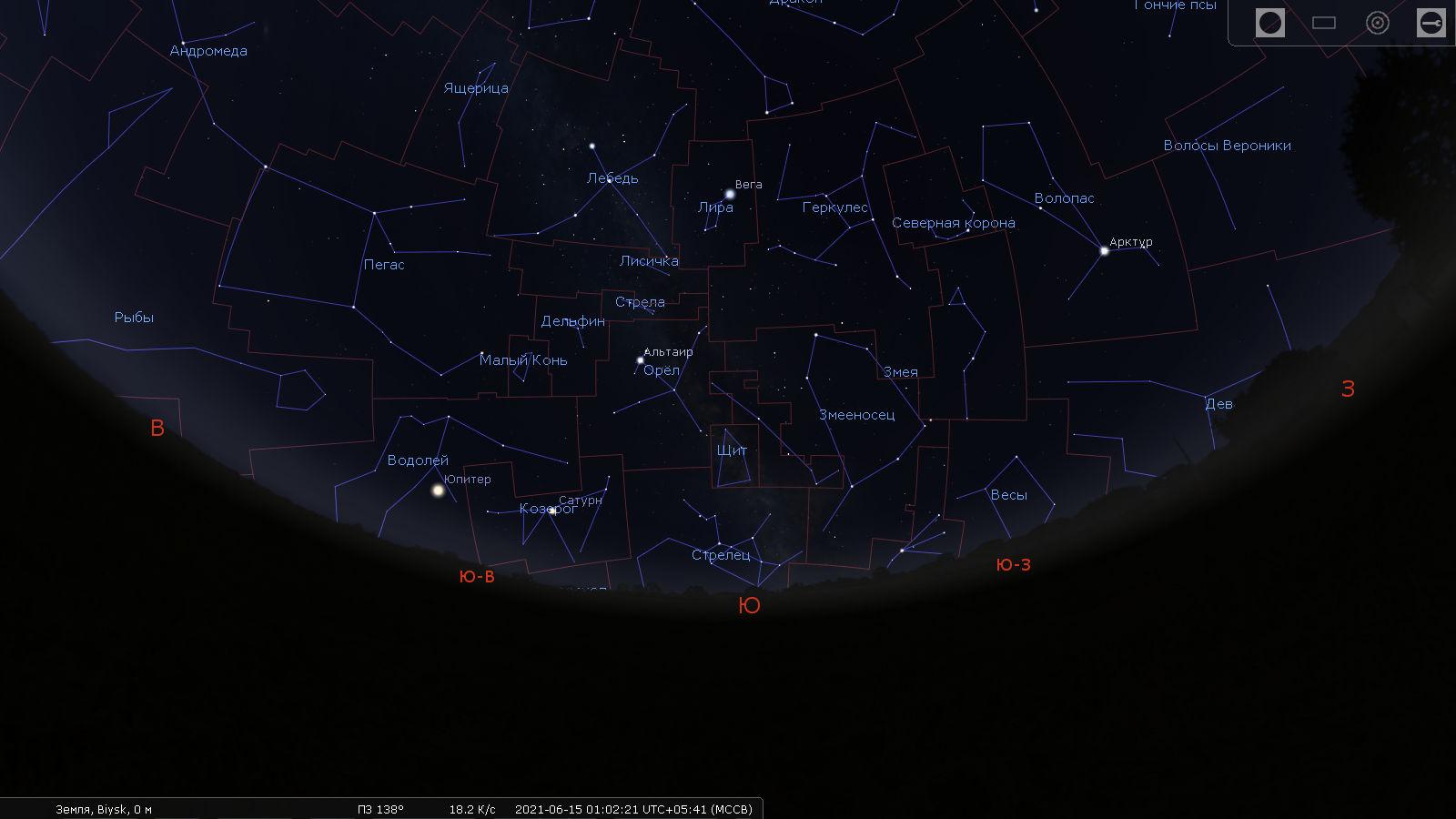 Звёздное небо в июне